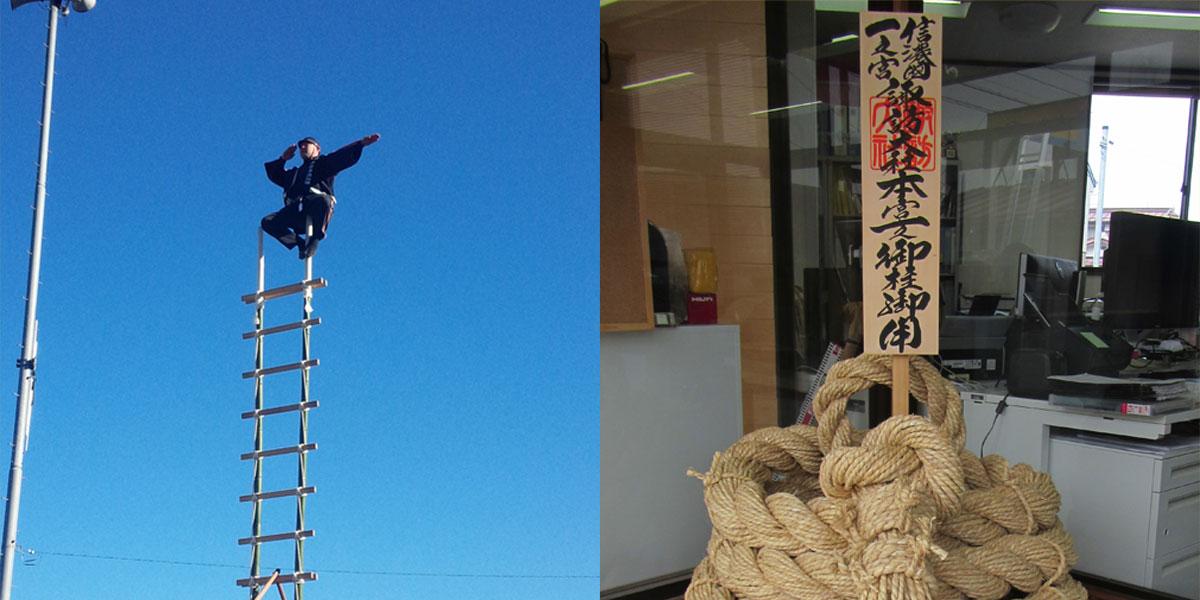 諏訪市の電気工事員が御柱に参加