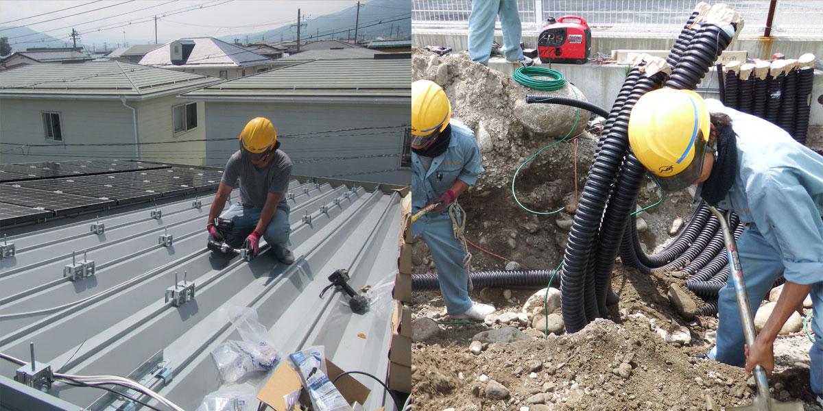 諏訪市の電気工事の作業現場